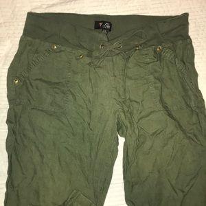Women's army green linen beach pants